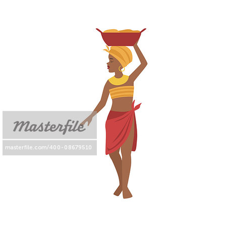 Woman With Basin On Head From African Native Tribe Simplified Cartoon Style Flat Vector Illustration Isolated On White Background Stock Photo - Budget Royalty-Free, Image code: 400-08679510