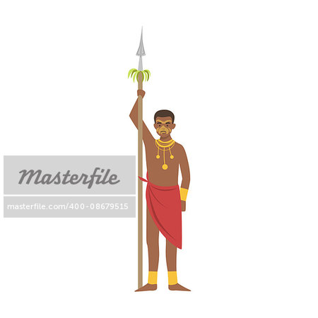 Warrior With Spear From African Native Tribe Simplified Cartoon Style Flat Vector Illustration Isolated On White Background Stock Photo - Budget Royalty-Free, Image code: 400-08679515