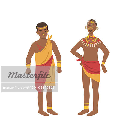 TwoMen In Loincloth From African Native Tribe Simplified Cartoon Style Flat Vector Illustration Isolated On White Background Stock Photo - Budget Royalty-Free, Image code: 400-08679516