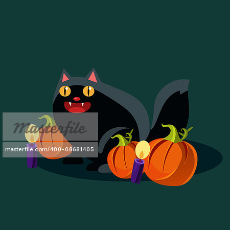 Black cat with candles and pumpkins on Halloween Vector Illustration Stock Photo - Budget Royalty-Free, Image code: 400-08681405