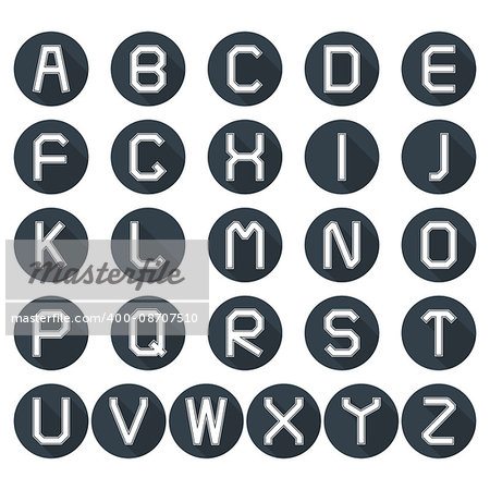 Set of round icons of the Latin alphabet in retro style with long diagonal shadow, vector illustration. Stock Photo - Budget Royalty-Free, Image code: 400-08707510