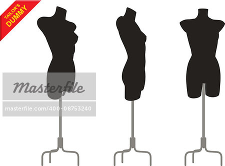 Three female black tailor s dummy in different positions on the stand