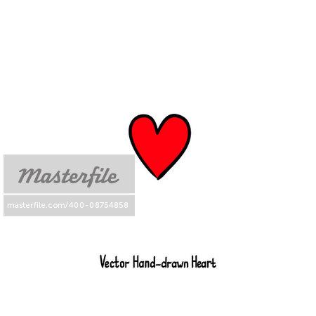 Hand-drawn vector heart icon. Grunge romantic design