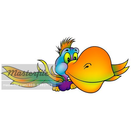 Flying Colorful Parrot with Big Orange Beak - Colored Cartoon Illustration, Vector