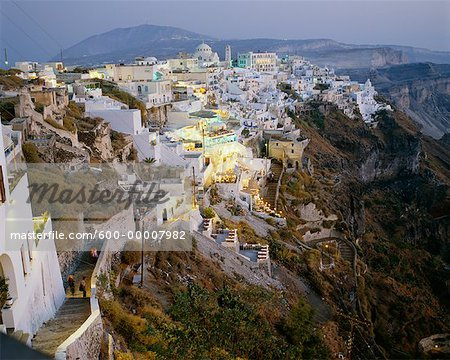 Town at Dusk, Thira, Santorini, Greece
