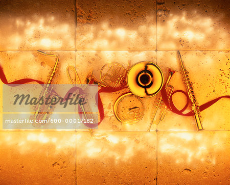 Brass Musical Instruments and Ribbon Stock Photo - Premium Royalty-Free, Image code: 600-00017182