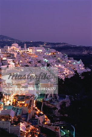 Cityscape at Night, Thira, Santorini, Greece