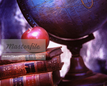 Globe, Books and Apple Stock Photo - Premium Royalty-Free, Image code: 600-00042439