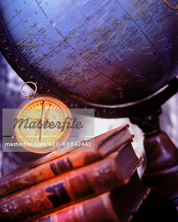 Globe, Books and Compass Stock Photo - Premium Royalty-Free, Image code: 600-00042441