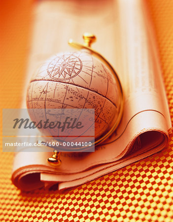 Antique Globe and Stock Listings Stock Photo - Premium Royalty-Free, Image code: 600-00044100