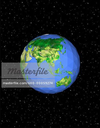 Geodesic Globe in Space, Pacific Rim Stock Photo - Premium Royalty-Free, Image code: 600-00059274