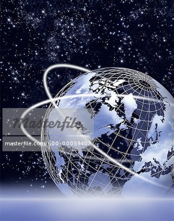Wire Globe with Rings in Space, North America Stock Photo - Premium Royalty-Free, Image code: 600-00059402