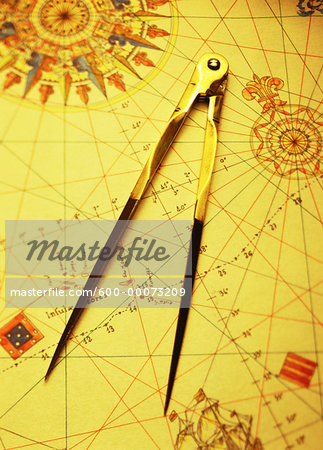 Antique Map and Compass Stock Photo - Premium Royalty-Free, Image code: 600-00073209