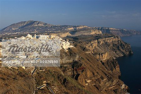 Overview of Town and Landscape, Thira, Santorini, Greece