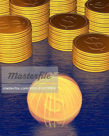 Stacks of Coins and Spinning Coin With Dollar Signs Stock Photo - Premium Royalty-Free, Image code: 600-00077456
