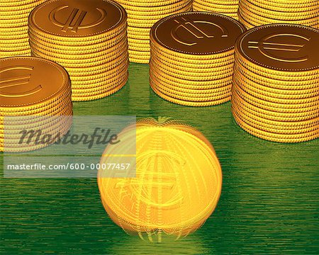 Stacks of Coins and Spinning Coin With Euro Symbols Stock Photo - Premium Royalty-Free, Image code: 600-00077457