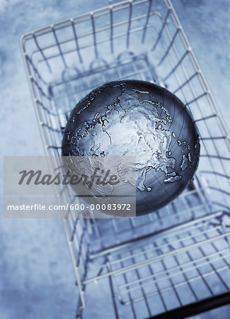 Globe in Shopping Cart Pacific Rim Stock Photo - Premium Royalty-Free, Image code: 600-00083972