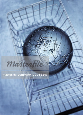 Globe in Shopping Cart Stock Photo - Premium Royalty-Free, Image code: 600-00088243