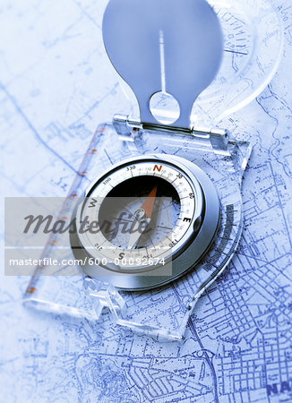 Compass on Map Stock Photo - Premium Royalty-Free, Image code: 600-00092674