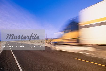 Transport Truck on Highway, Nevada, USA Stock Photo - Premium Royalty-Free, Image code: 600-00171281
