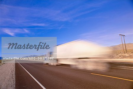 Transport Truck on Highway, Nevada, USA Stock Photo - Premium Royalty-Free, Image code: 600-00171282