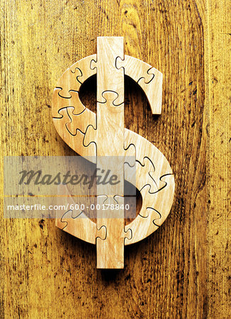 Wooden Dollar Jigsaw Puzzle Stock Photo - Premium Royalty-Free, Image code: 600-00178840