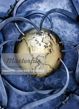 Golden Globe and Callipers Stock Photo - Premium Royalty-Free, Image code: 600-00178843
