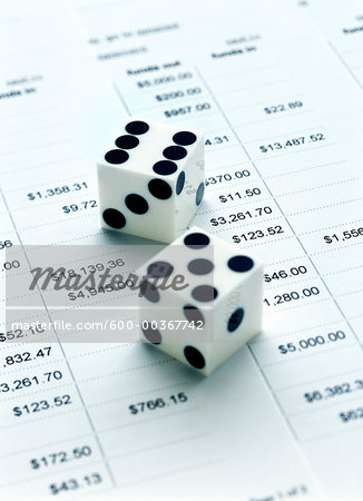 Dice and Financial Listings Stock Photo - Premium Royalty-Free, Image code: 600-00367742