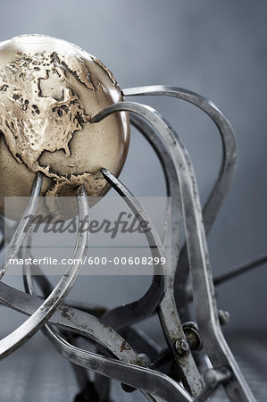 Metal Globe and Callipers Stock Photo - Premium Royalty-Free, Image code: 600-00608299