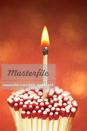 Lit Match with Cluster of Unlit Matches Stock Photo - Premium Royalty-Free, Image code: 600-00865469