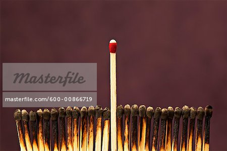 One Unlit Match Among Row of Burnt Matches Stock Photo - Premium Royalty-Free, Image code: 600-00866719
