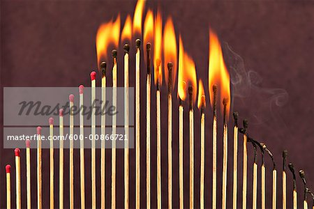 Matches on Fire Stock Photo - Premium Royalty-Free, Image code: 600-00866721