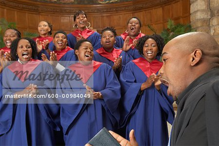 Gospel Choir and Minister Stock Photo - Premium Royalty-Free, Image code: 600-00984049
