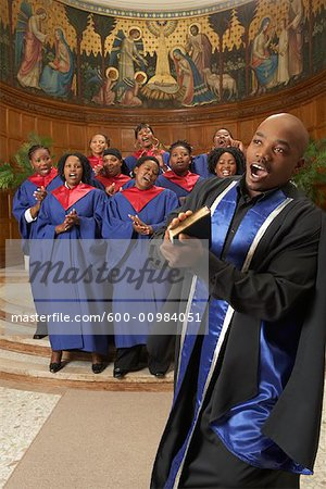 Gospel Choir and Minister Stock Photo - Premium Royalty-Free, Image code: 600-00984051