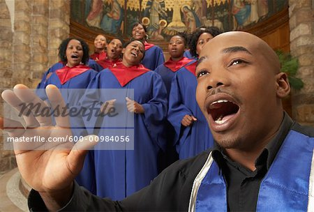 Gospel Choir and Minister Stock Photo - Premium Royalty-Free, Image code: 600-00984056