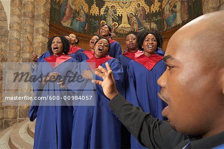 Gospel Choir and Minister Stock Photo - Premium Royalty-Free, Image code: 600-00984057