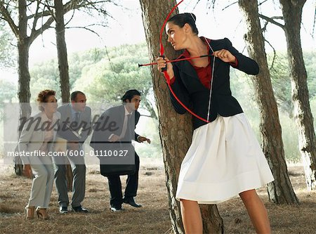 Businesswoman Hunting Business People Stock Photo - Premium Royalty-Free, Image code: 600-01110027