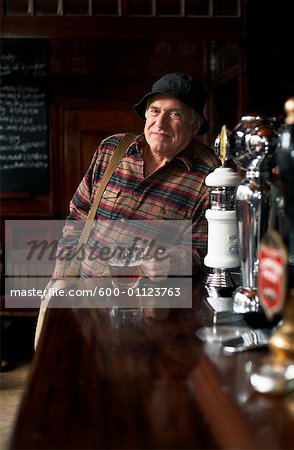 Portrait of Man in Pub Stock Photo - Premium Royalty-Free, Image code: 600-01123763
