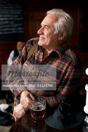 Portrait of Man in Pub Stock Photo - Premium Royalty-Free, Image code: 600-01123765