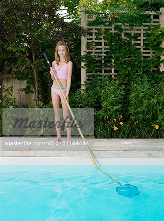 Girl Cleaning Swimming Pool