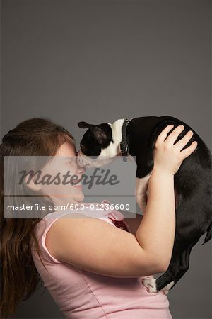 Girl with Dog Stock Photo - Premium Royalty-Free, Image code: 600-01236600