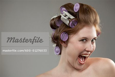Woman with Curlers in Hair