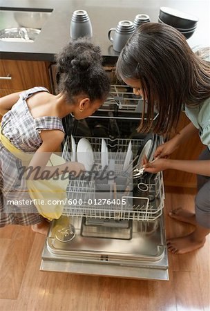 Sisters Loading Dishwasher Stock Photo - Premium Royalty-Free, Image code: 600-01276405