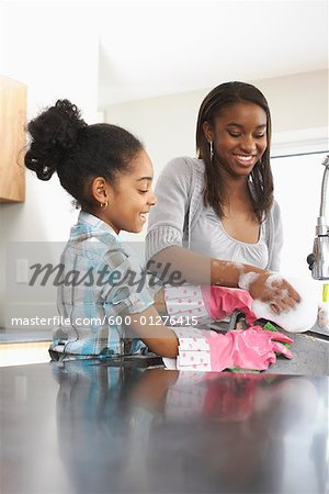 Girls Washing Dishes Stock Photo - Premium Royalty-Free, Image code: 600-01276415