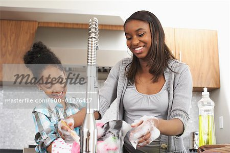 Sisters Washing Dishes Stock Photo - Premium Royalty-Free, Image code: 600-01276417