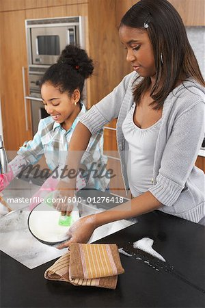 Sisters Washing Dishes Stock Photo - Premium Royalty-Free, Image code: 600-01276418