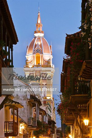 Cartagena's Cathedral and Street Scene, Cartagena, Colombia