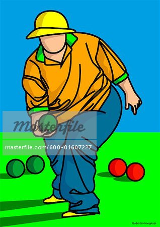 Illustration of Person Playing Bocce Stock Photo - Premium Royalty-Free, Image code: 600-01607227