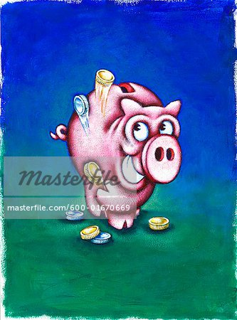 Smiling Piggy Bank Throwing Coins in the Air Stock Photo - Premium Royalty-Free, Image code: 600-01670669