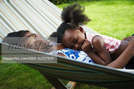 Mother and Daughter Sleeping in Hammock Stock Photo - Premium Royalty-Free, Image code: 600-01717920
